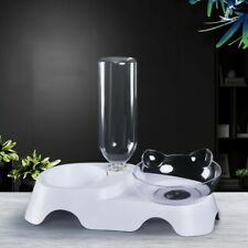 Pet Automatic Water Dispenser Dog Cat Drinking Double Bowl Dish Bottle Feeder Us