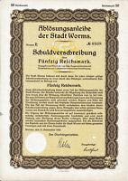 Worms RM Stadt Anleihe 1929 + Auslosungsschein Rheinland Pfalz hist. Wertpapier