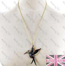 GOLD TONE BIRD pendant NAVY/PURPLE marcasite CRYSTAL rhinestone NECKLACE pretty