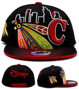 Chicago New Toddler Youth Feathers CTY Blackhawks Black Red Era Snapback Hat Cap