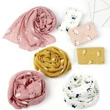 Kids Crown Print Scarf Autumn Linen Scarves Soft Shawl Girls Warm Neckerchief