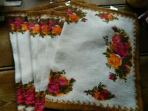 bag4 VINTAGE irish linen 6 LEASSURELYN old country roses pattern place mats