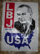 LBJ For the USA President Lyndon Johnson Plastic Cling Campaign Poster
