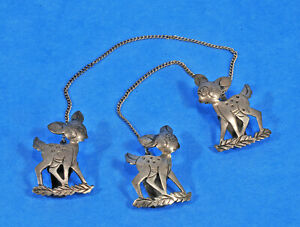 Vintage ~ .950 Silver ~ Bambi Disney? ~ Daisy Chain Collar / Scarf Clip