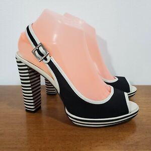 Michael Kors Black & White Striped Heel Peep Toe Slingback Sandals - 7.5 M