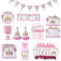 Pink Gold Unicorn Sparkle Birthday Party Tableware Decorations for Kids Girls US