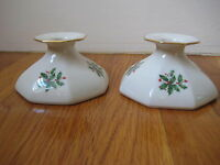 Lenox Holly Presidential CANDLE HOLDER Christmas holiday vtg berry candlesticks
