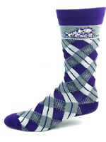 TCU Horned Frogs For Bare Feet Gray and Purple Plaid Dress Socks