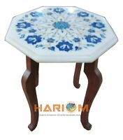 "12"" Marble Coffee Table Top Lapis Lazuli Marquetry Inlay &12"" Stand Decors W197A"