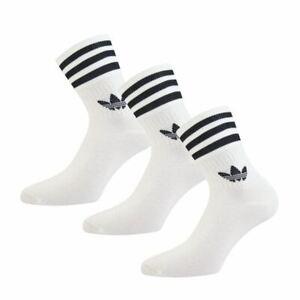 Boy's adidas Originals Childrens Three Pairs Pack Mid Cut Crew Socks in White