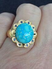 Genuine Light Blue Bird's Eye Kingman Turquoise & Sapphire Silver Ring Size 7