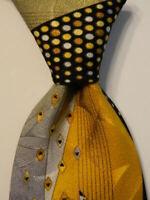 VITALIANO PANCALDI Men's Silk Necktie ITALY Luxury Geometric Black/Yellow GUC