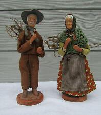 Couple de Santon de Provence : Couple avec fagots signés N. Décory