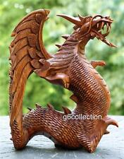 "12"" NEW Large Hand Carved Wooden Dragon Statue Sculpture Figurine Art Decor Wood"