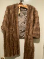 Vintage Rhomberg Famous for Furs Brown Mink Fur Stole Cape Shawl Wrap