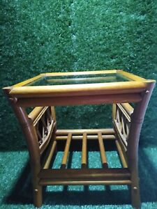 Bamboo Cane Wicker Occasional Coffee Table Conservatory with Glass Top