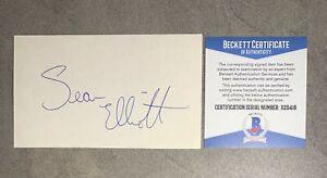 Sean Elliott Signed 3x5 Index Card Cut Beckett BAS COA San Antonio Spurs Auto