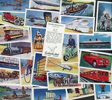 "EWBANKS 1957 SET OF 25 ""TRANSPORT THROUGH THE AGES"" BLACK BACK TRADE CARDS"