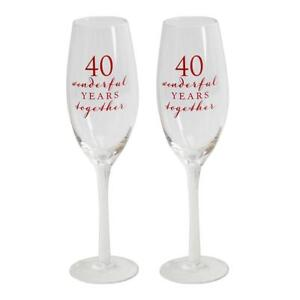 40th Ruby Champagne Glasses Flutes Wedding Anniversary Gift