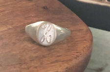 Sterling Vintage Monogrammed H Ring Kids small 3.25