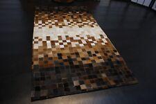 nr 237 Hochwertige Leder Teppich Kuhfell handarbeit patchwork Braun 150 x 80 cm