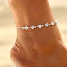 Damen Fußkette Zirkonia/Strass Sieben Steine mit-SterlingSilber-Gold
