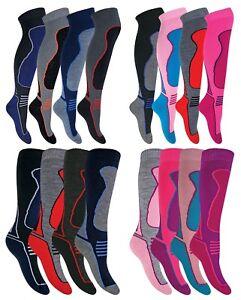 4 Pack Mens Womens Kids Warm Winter Knee High Padded Wool Blend Ski Socks