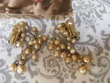 Vintage Unsigned Miriam HASKELL BAROQUE PEARL EARRINGS Multi Dangle
