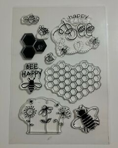 Bee Happy Stamps  - 9 Stamps - Bees, Honeycomb, Flowers, Words