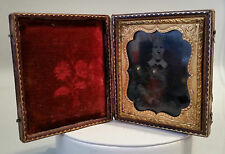 ANTIQUE DAGUERROTYPE SOUR-PUSS TOOLED LEATHER CASE W/ THISTLES HAND-COLORED FACE