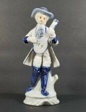 Vintage Victorian Man With Mandolin White & Blue Porcelain Figurine