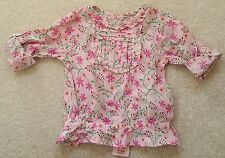 PRIMARK Young Dimension Flowered 100% Cotton Pink Blouse Top Sleeves 9-12 Months