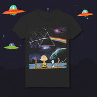 Snoopy & Charlie Brown Dark Side of the Moon Muisc Parody HD97 Black T-Shirt