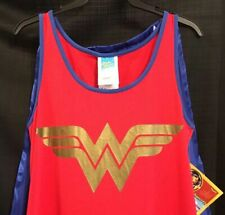 Halloween Wonder Woman tank dress w/ cape red w/ blue gold trim teen Small - NEW