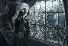 A4 Affiche - Homme en Gaz Masque Regardant à un Zombie à travers A Fenêtre