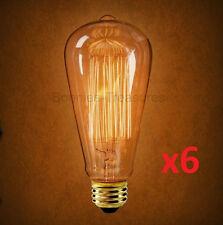 6-pk EDISON 60W Antique Light Bulbs MARCONI Squirrel Cage Filament 60 watt Amber
