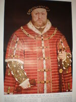 King Henry VIII at the age of Fifty One by Holbein 1933 old colour print
