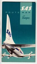 1956 Denmark SAS Scandinavian Airlines System Route Map EUROPE Printed in Sweden