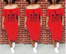 USA  Women Letter Street wear Slash Neck Off The Shoulder Mid-Calf Dress #CM2