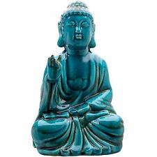Crackle Glaze Thai Buddha Turquoise Sitting Thai 33 cm High Feng Shui