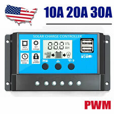 PWM Solar Charge Controller Solar Panel Battery Regulator 12/24V Auto PV 50V LCD