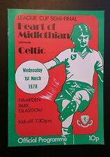 Hearts v Celtic Scottish League Cup Semi Final Programme 01/03/78