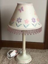 Home Interiors Kids Butterfly and Flowers Table Lamp w/ Beads Ivory Pink Purple