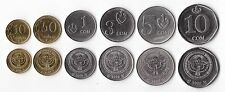 KYRGYZSTAN COMPLETE FULL COIN SET 10+50 Tyiyn +1+3+5+10 Som 2008-09 UNC LOT of 6