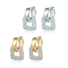 HUCHE Dangle Square Ring Paved White Topaz Crystal Gold Filled Women Earrings