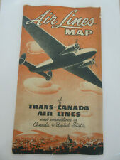 Air Lines map of Trans-Canada National Service with US connections TCA 1941 VG