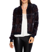 1. State Womens M Lunar Navy Plaid Eyelash Yarn Zip Bomber Sweater Jacket NWT