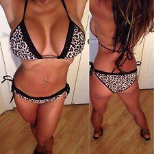 Connie's Animal Print Bikini with Black Piping and Black Lace Bikini S/M