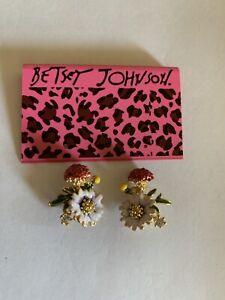 Betsey Johnson rare Rhinestone alloy Enamel flowers Drop Earrings-BJ60058