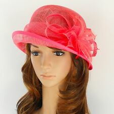 New Woman Church Derby Wedding Sinamay Ascot Cloche Dress Hat DR-06 Coral